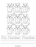Fox Number Practice Handwriting Sheet