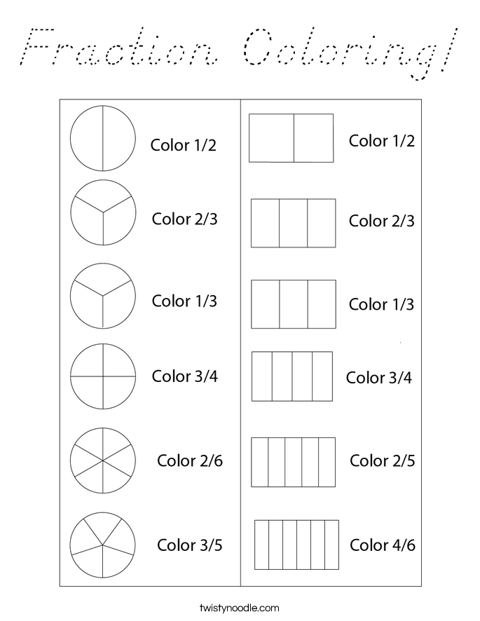 Fraction Coloring! Coloring Page
