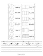 Fraction Coloring Handwriting Sheet