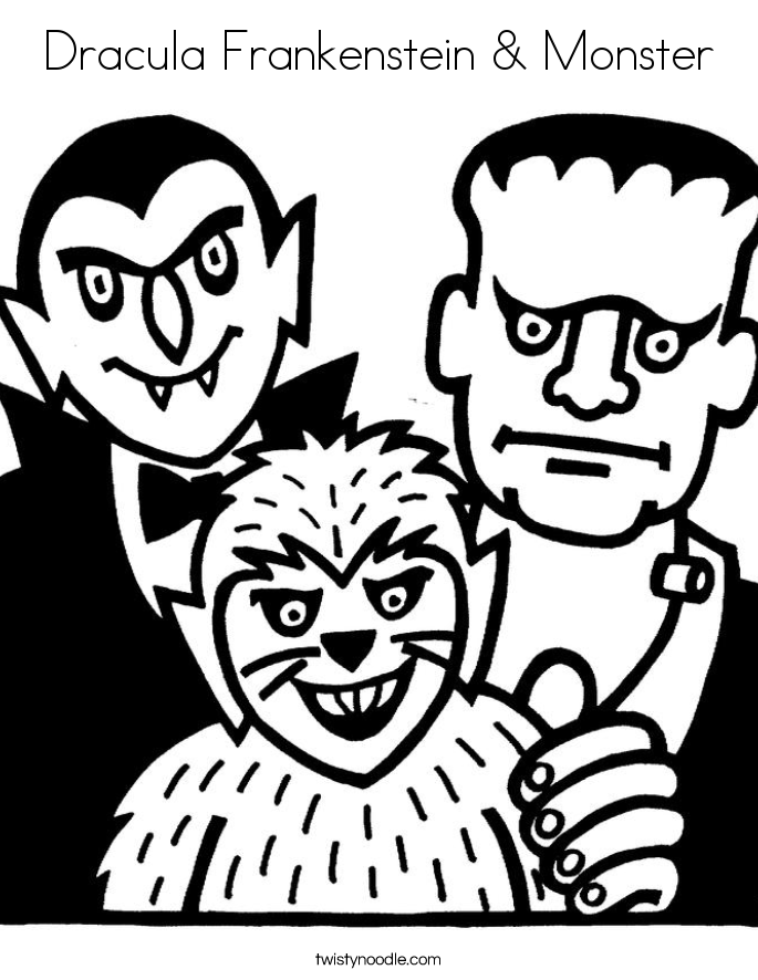 Dracula Frankenstein & Monster Coloring Page