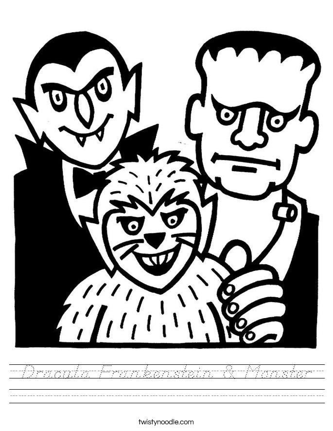 Dracula Frankenstein & Monster Worksheet