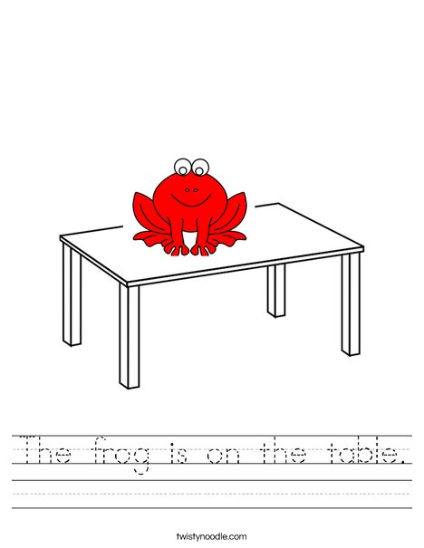 Fred is on the table Worksheet