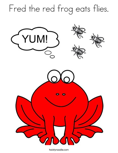 Fred the red frog eats flies. Coloring Page