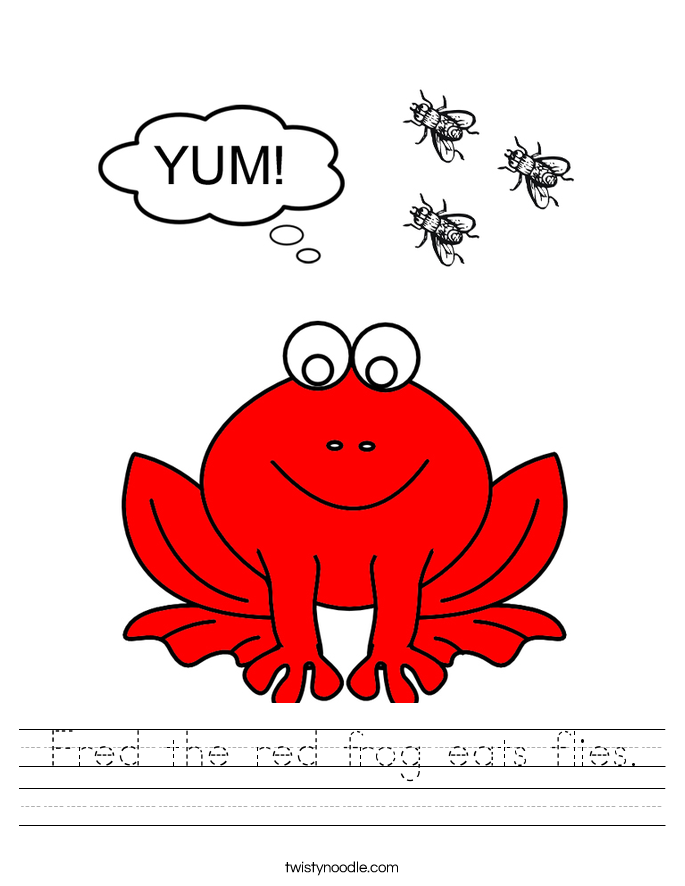 Fred the red frog eats flies. Worksheet