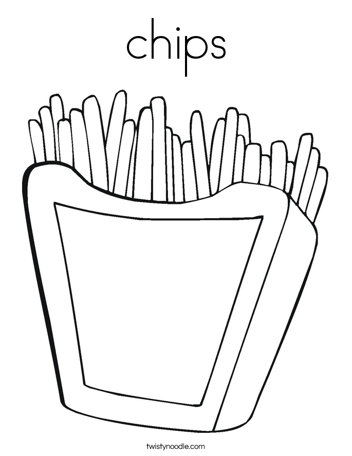 Kleurplaat Frite Chips Coloring Page Twisty Noodle