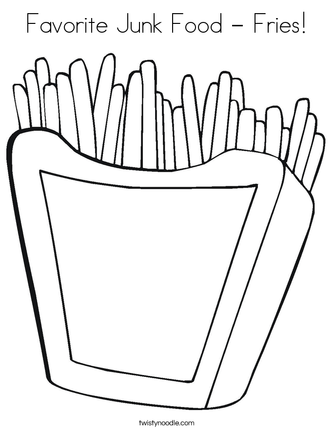 Favorite Junk Food Fries Coloring Page Twisty Noodle