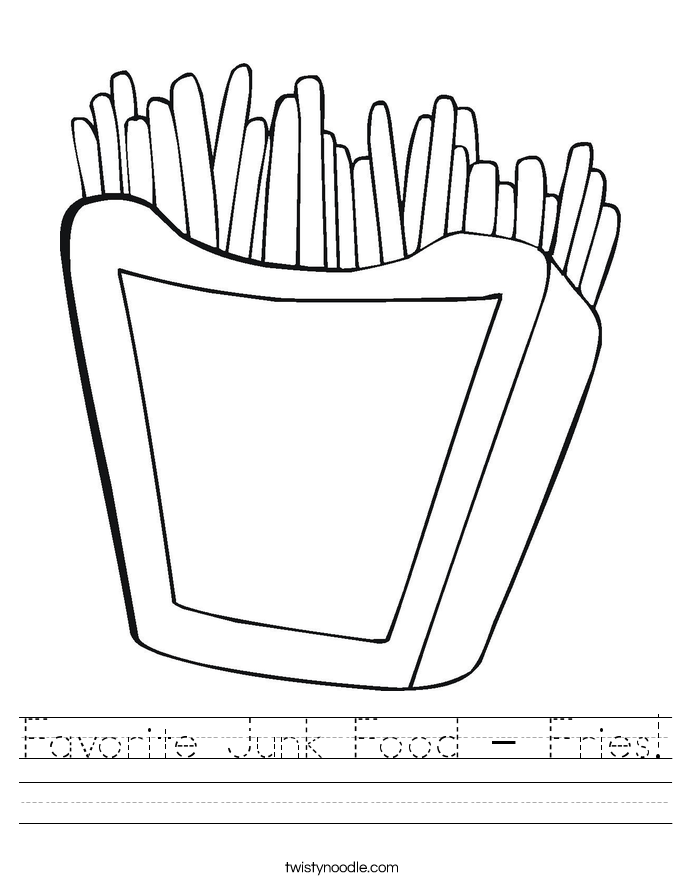 Favorite Junk Food - Fries! Worksheet