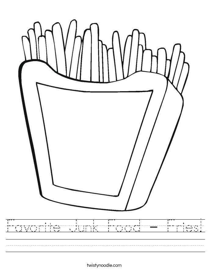 Favorite Junk Food - Fries! Worksheet