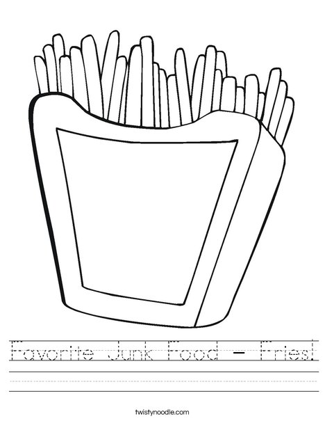 Favorite Junk Food - Fries Worksheet - Twisty Noodle