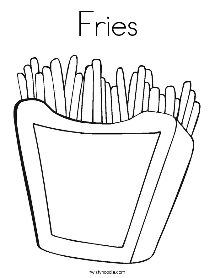 Fries Coloring Page Twisty Noodle