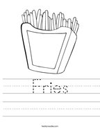 Fries Handwriting Sheet