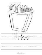 Fries Handwriting Sheet