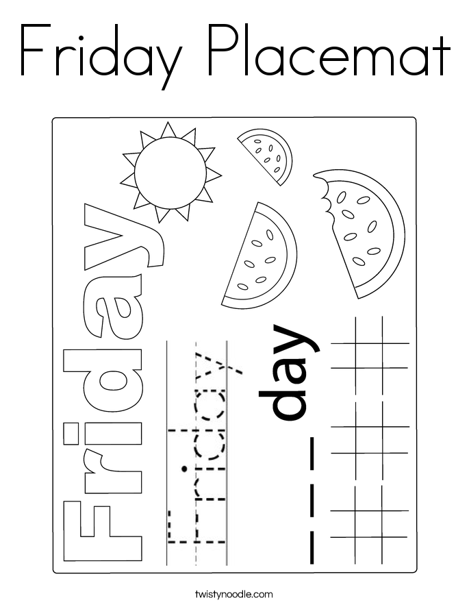 Friday Placemat Coloring Page