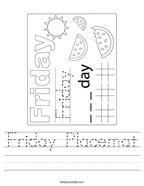 Friday Placemat Handwriting Sheet