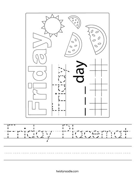 Friday Placemat Worksheet