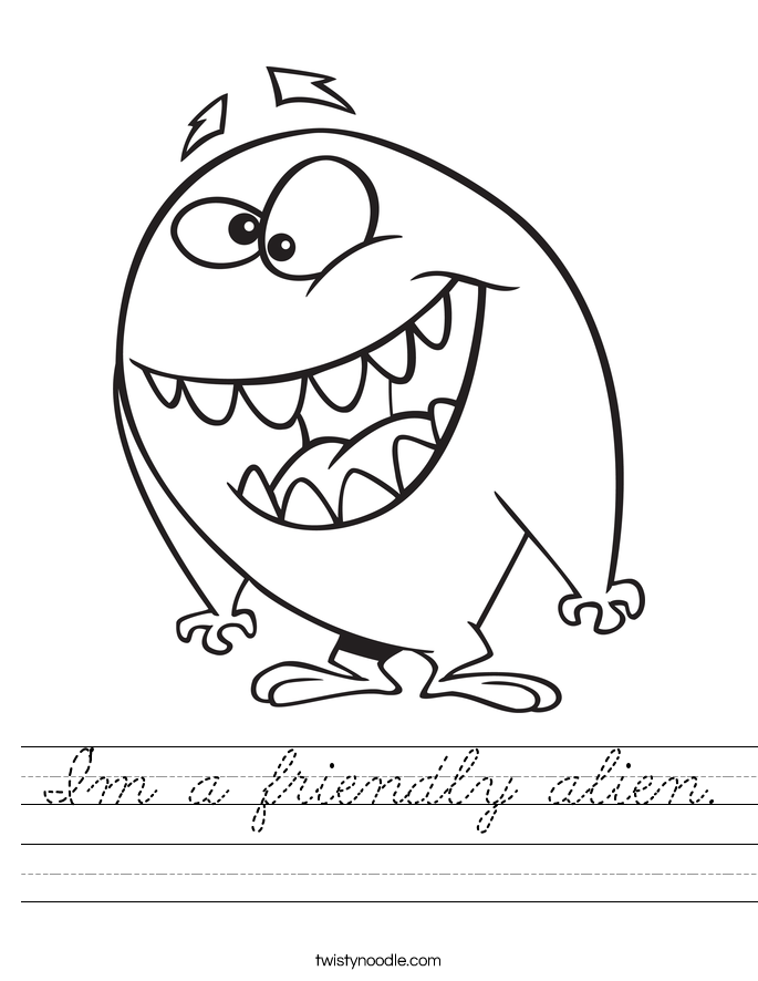 I'm a friendly alien. Worksheet