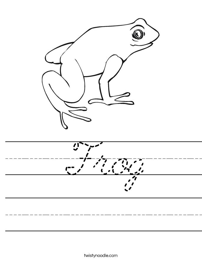Frog Worksheet - Cursive - Twisty Noodle