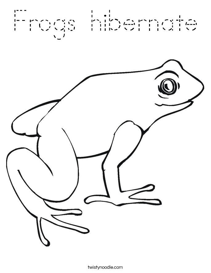 Frogs Hibernate Coloring Page Tracing Twisty Noodle