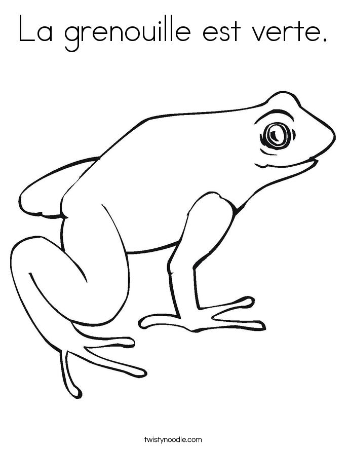 La grenouille est verte. Coloring Page