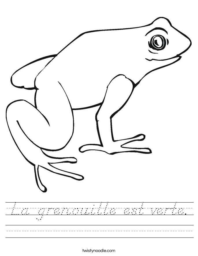 La grenouille est verte. Worksheet