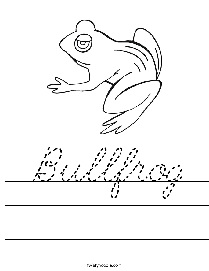 Bullfrog Worksheet