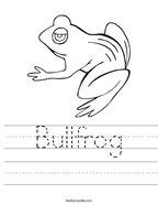Bullfrog Handwriting Sheet