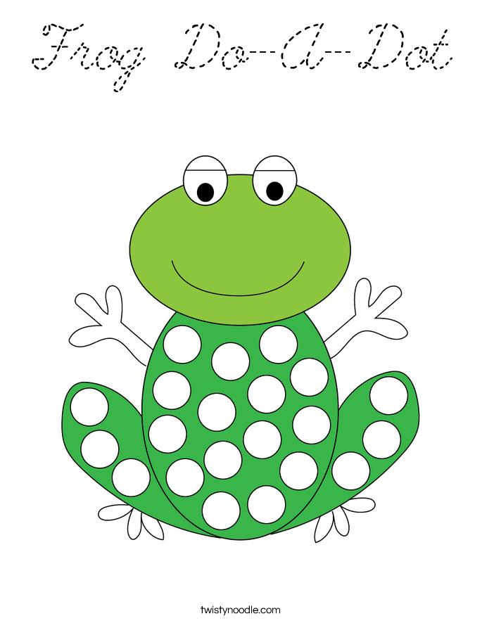 Frog Do-A-Dot Coloring Page - Cursive - Twisty Noodle