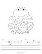 Frog Dot Painting Handwriting Sheet