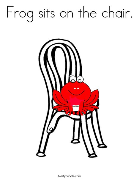 Frog on chair Coloring Page