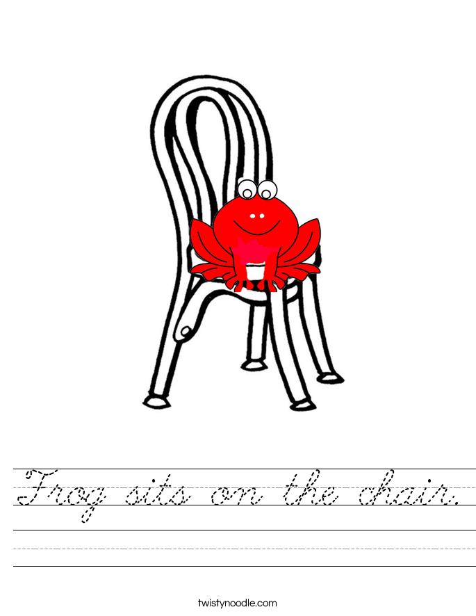 Frog sits on the chair. Worksheet
