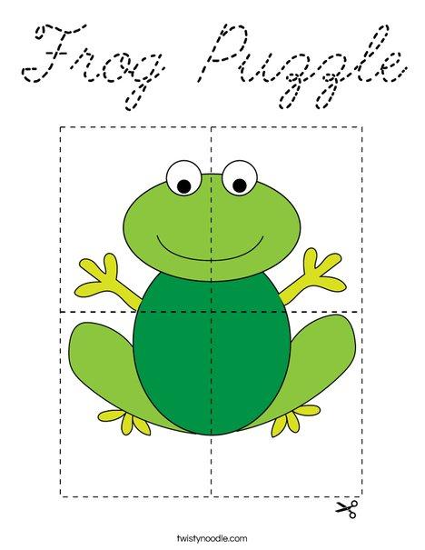 Frog Puzzle Coloring Page - Cursive - Twisty Noodle