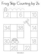 Frog Skip Counting by 2s Coloring Page