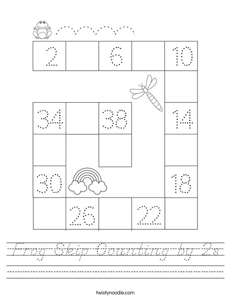 Frog Skip Counting by 2s Worksheet