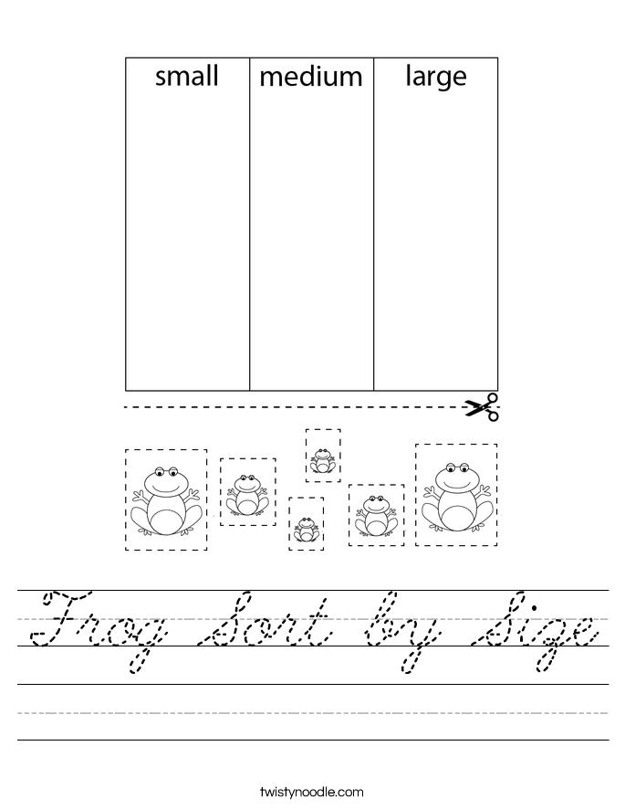 Frog Sort by Size Worksheet