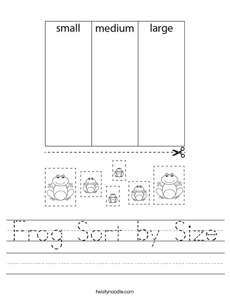 Frog Sort by Size Worksheet