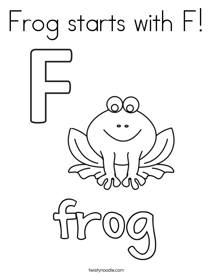 Frog starts with F Coloring Page Twisty Noodle