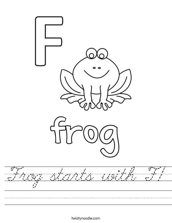 Frog starts with F! Worksheet