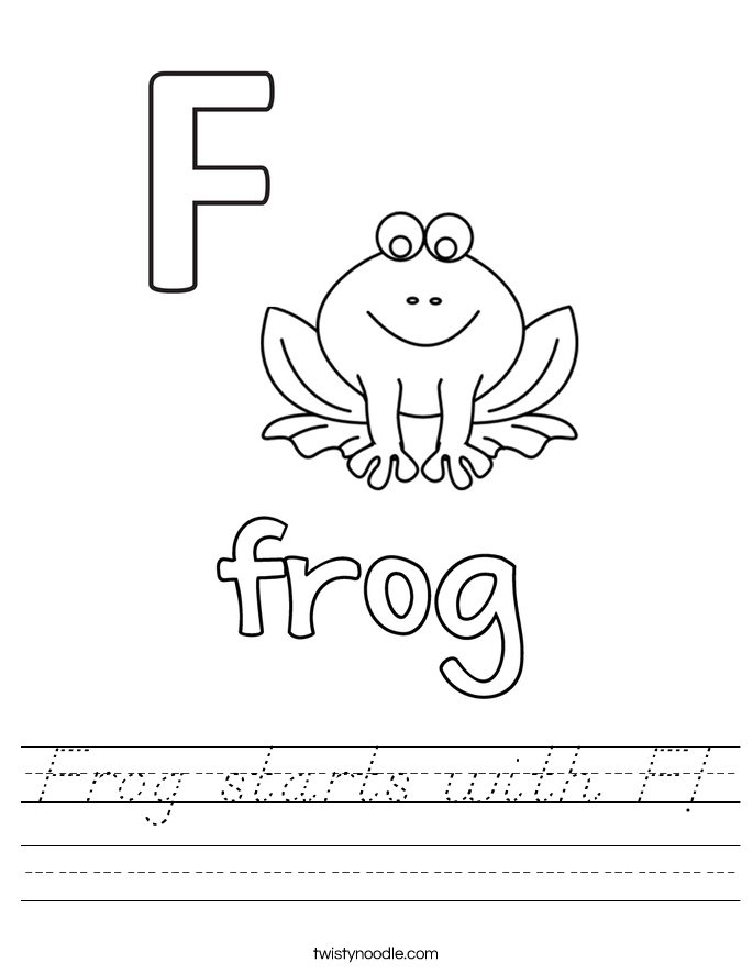 Frog starts with F! Worksheet