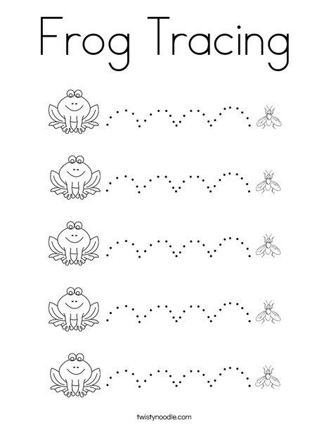 Frog Tracing Coloring Page