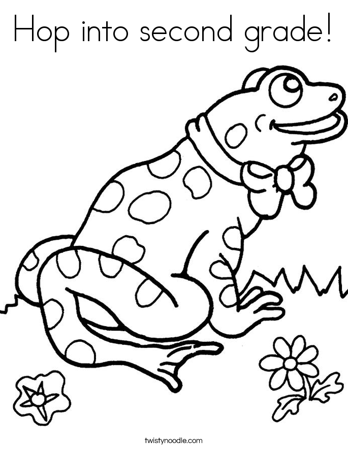 hop into second grade coloring page