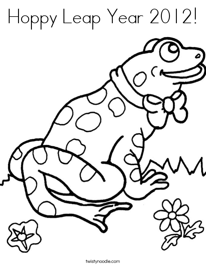 Hoppy Leap Year 2012 Coloring Page - Twisty Noodle