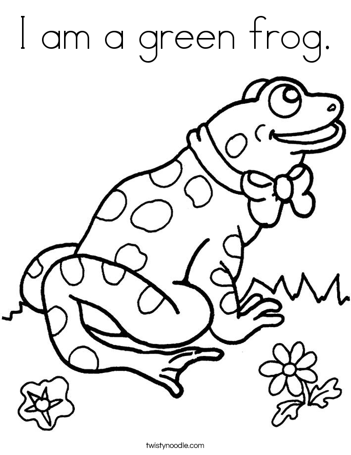 I am a green frog. Coloring Page