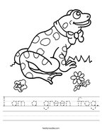 I am a green frog Handwriting Sheet