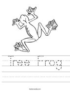 Tree Frog Handwriting Sheet