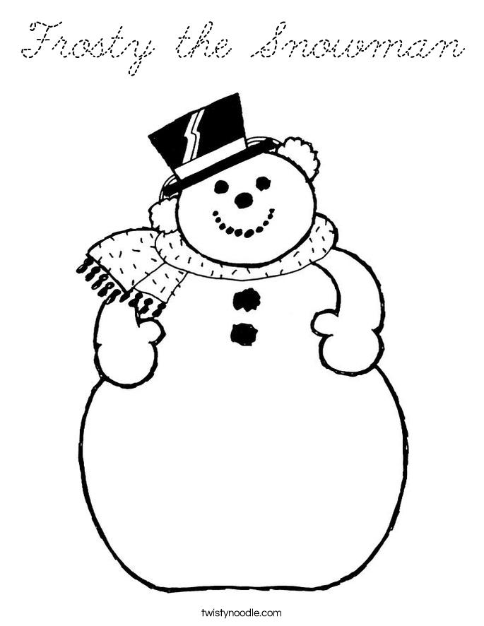 Frosty the Snowman Coloring Page - Cursive - Twisty Noodle