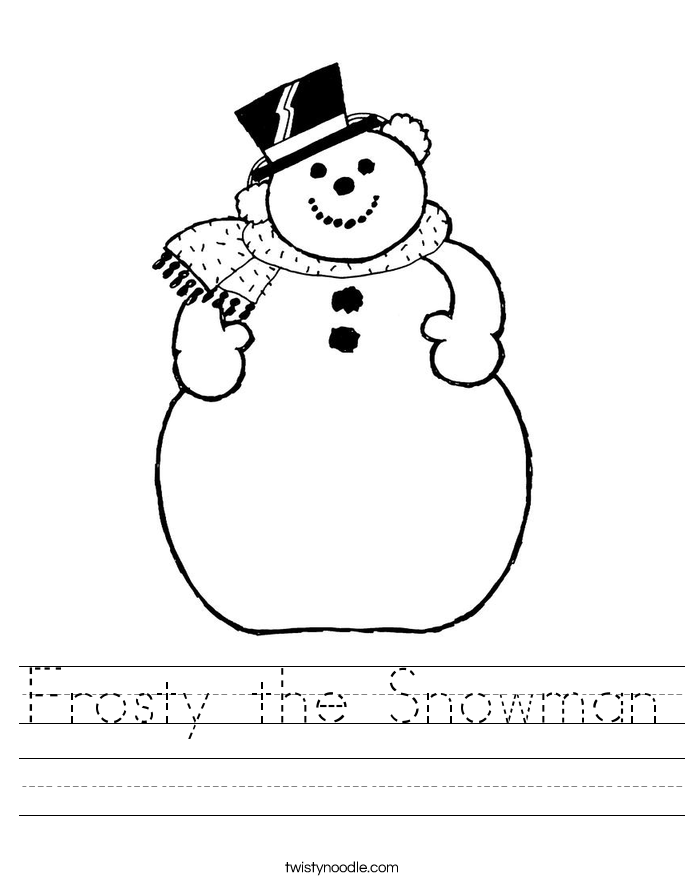 frosty the snowman worksheet twisty noodle. Black Bedroom Furniture Sets. Home Design Ideas