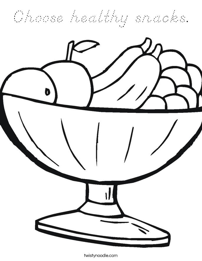 Choose healthy snacks. Coloring Page