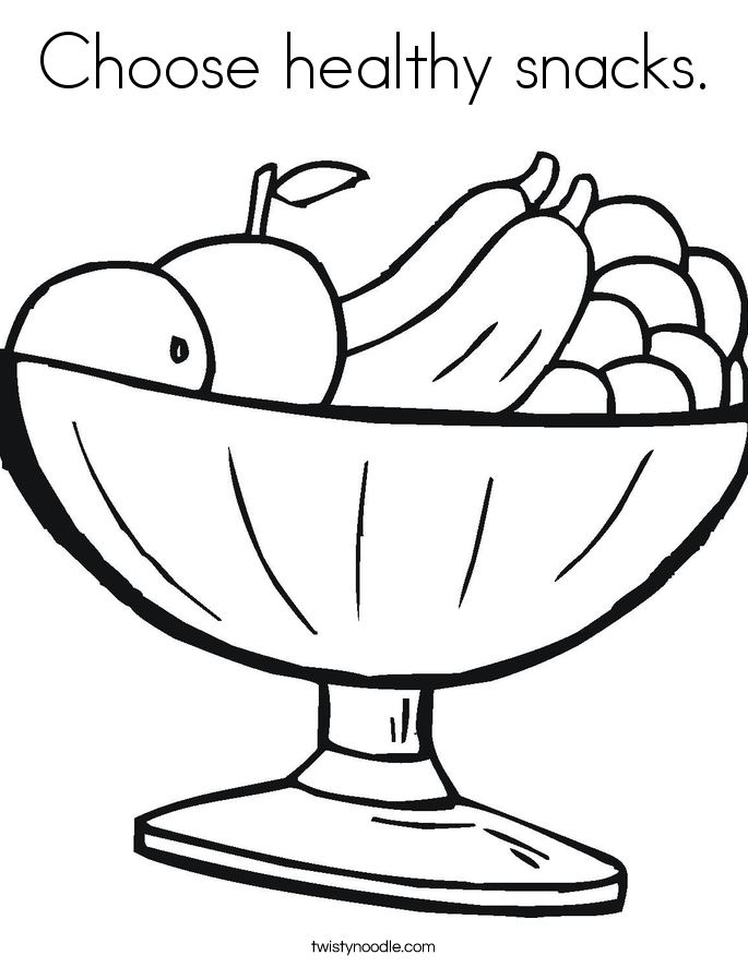 Choose Healthy Snacks Coloring Page Twisty Noodle Snack Coloring Pages