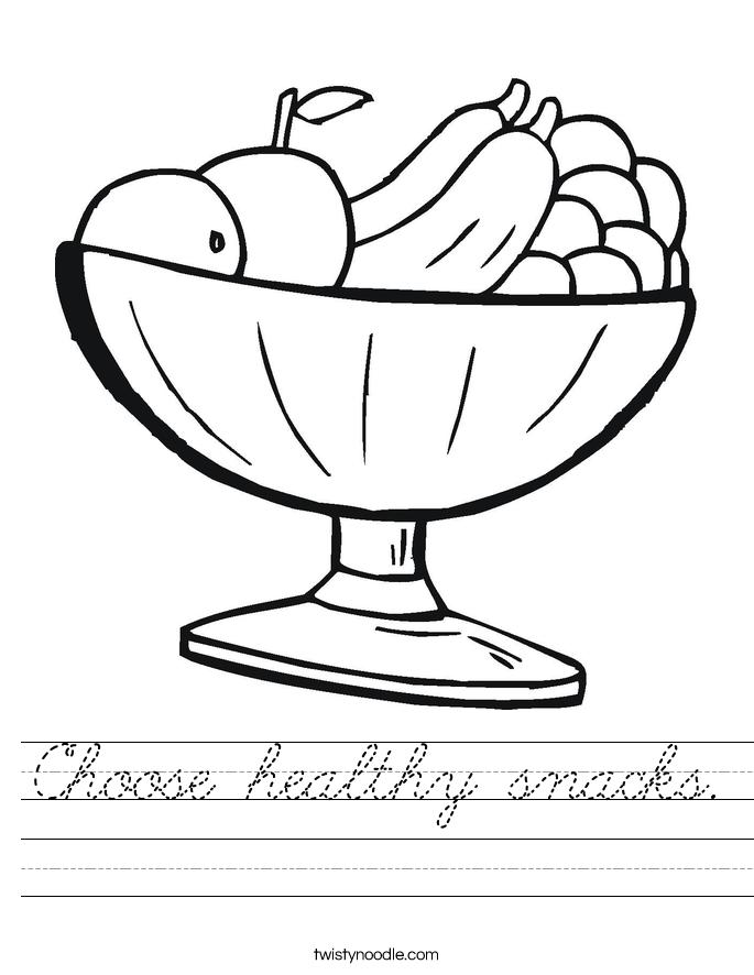 Choose healthy snacks. Worksheet