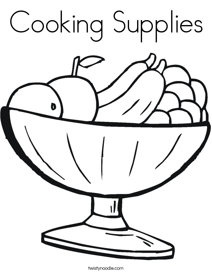 Cooking Supplies Coloring Page Twisty Noodle